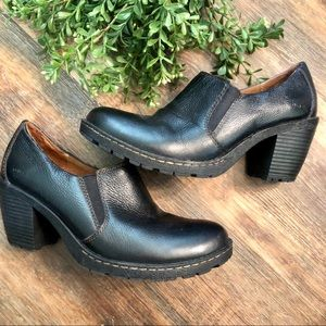 B.O.C Black Leather Ankle Booties. Size 8.